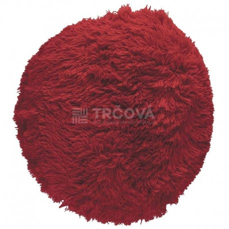 Polštář chlupatý červený Ø 45 cm
