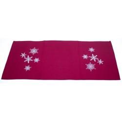 Štola 40 x 140 cm Vánoční vločky červené