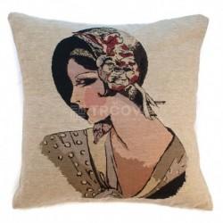 Povlak na polštář Gobelín žena v klobouku 45 x 45 cm