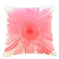 Povlak na polštář růžový květ 45 x 45 cm